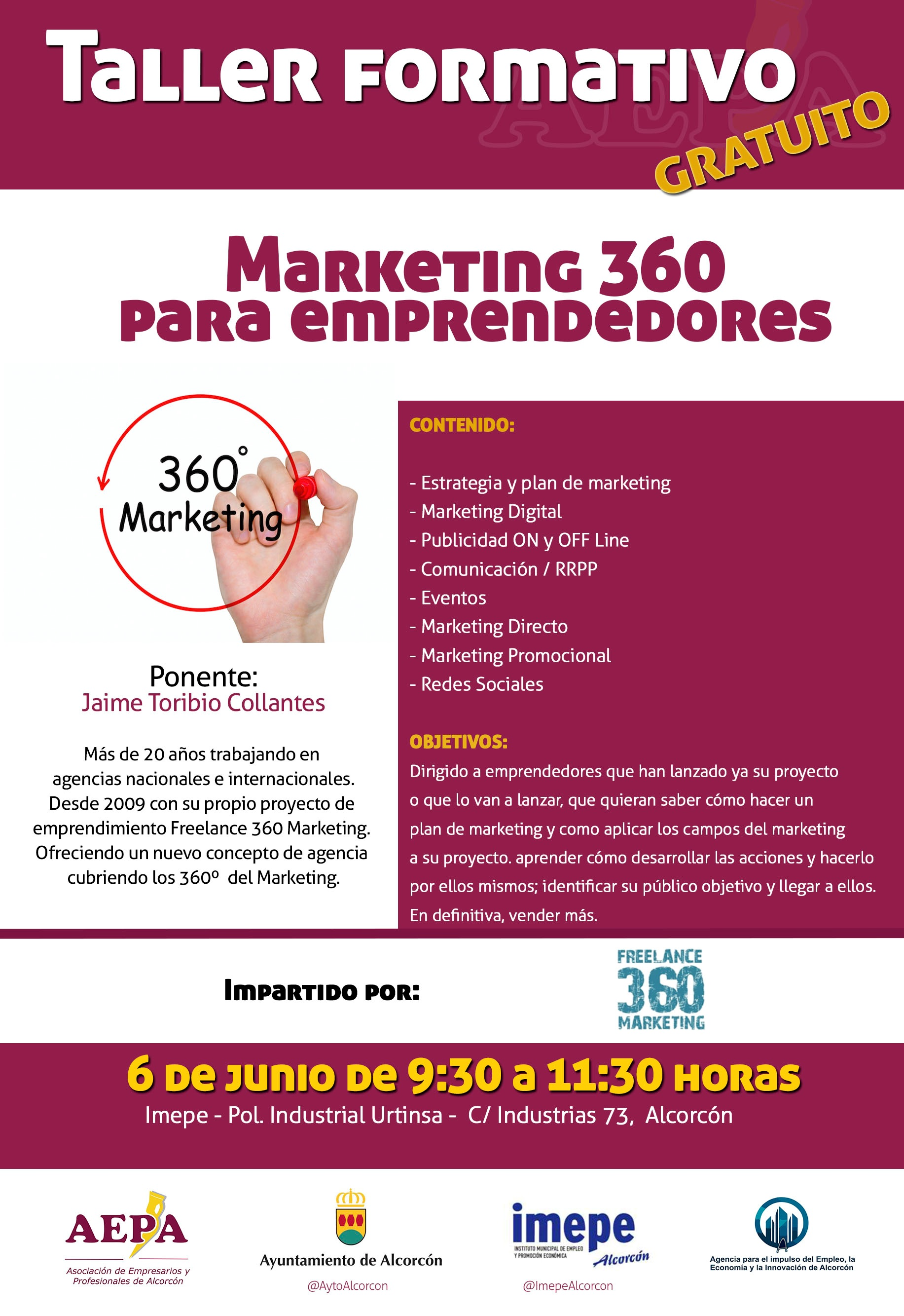 Taller formativo MARKETING 360 para emprendedores IMEPE Alcorcón